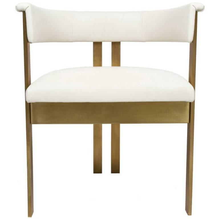 Ivory Leather Dining Room Chairs: Elliott Dining Chairs In Ivory Leather At 1stdibs