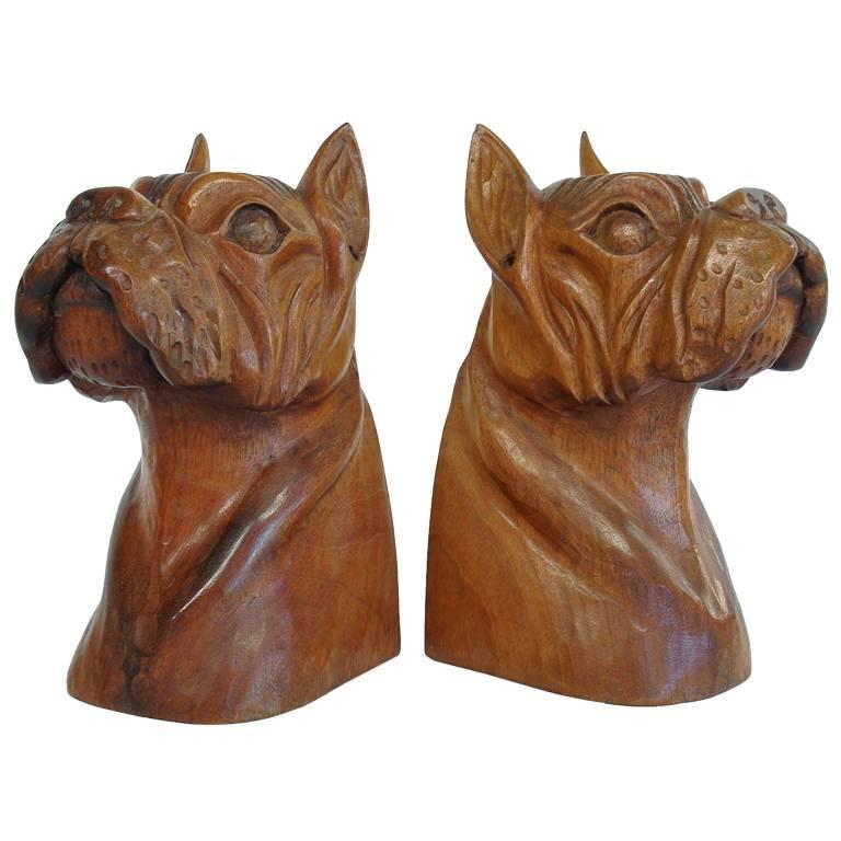 Hand carved wooden bulldog bookends for sale at stdibs
