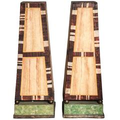 Pair of Large Continental Decorative Painted Wood Obelisks