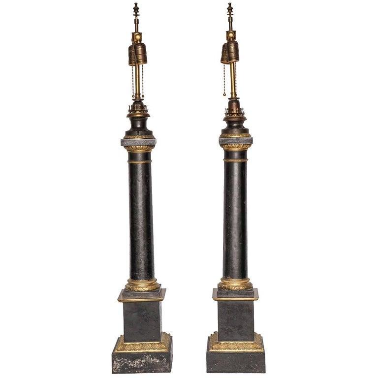 Pair Gilt Patinated Metal Column Lamps
