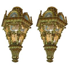 18th Century Pair of Venetian Hand-Carved Lanterns