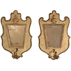 19th Century Pair of Antique Element Mirror Sconces