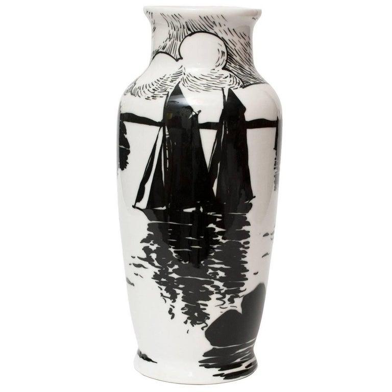 Swedish Art Deco Porcelain Vase by Algot Eriksson, for ALP, Lidkoping For Sale