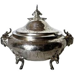 Silver Plated Covered Tureen with Deer and Ram Motif, circa 1885, Meriden