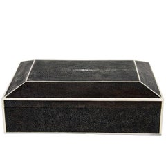 Large Exotic Shagreen Box with White Bone Inlay