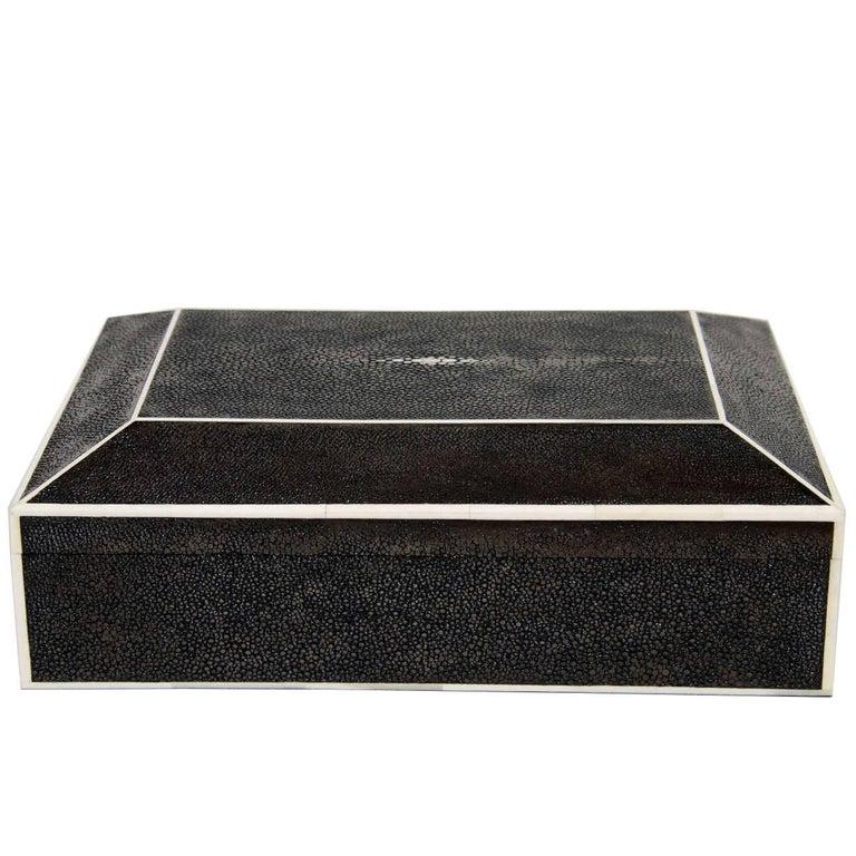 Large Exotic Shagreen Box with White Bone Inlay