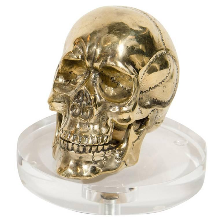 Gothic Brass Metal Skull Bookend Desk Accessory For Sale At 1stdibs