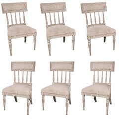 Six Swedish, Gustavian 1790s Painted Chairs