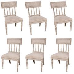 Six Swedish, Gustavian 1790s Painted Chairs