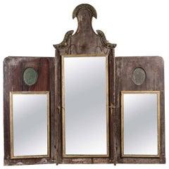 18th Century Italian Triptych Mirror or Three-Part Folding Mirror