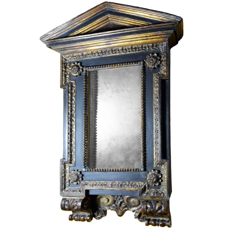 Mannerist Italian Wood Tabernacle Mirror From The