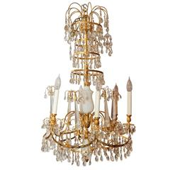 Russian Style White Opaline and Bronze Six-Light Chandelier