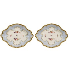 Pair Antique Baby Blue Porcelain Worcester Dishes Made circa 1820