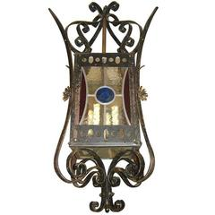Wrought Iron Lantern with Leaded Glass Insets