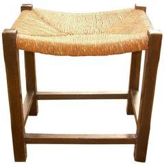 English Oak Rush Seat Stool