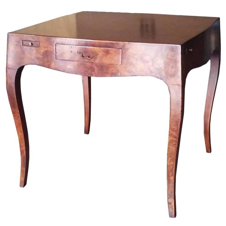 Mid Century Italian Burled Wood Card Table 1