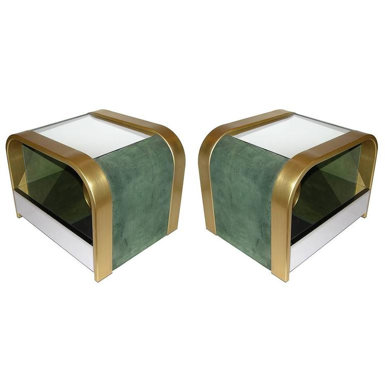 Romeo Rega 1970s Brass and Chrome Open Side Tables with Green Velvet Sides