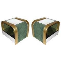 Romeo Rega 1970s Brass and Chrome Open Side Tables with Green Velvet Sides