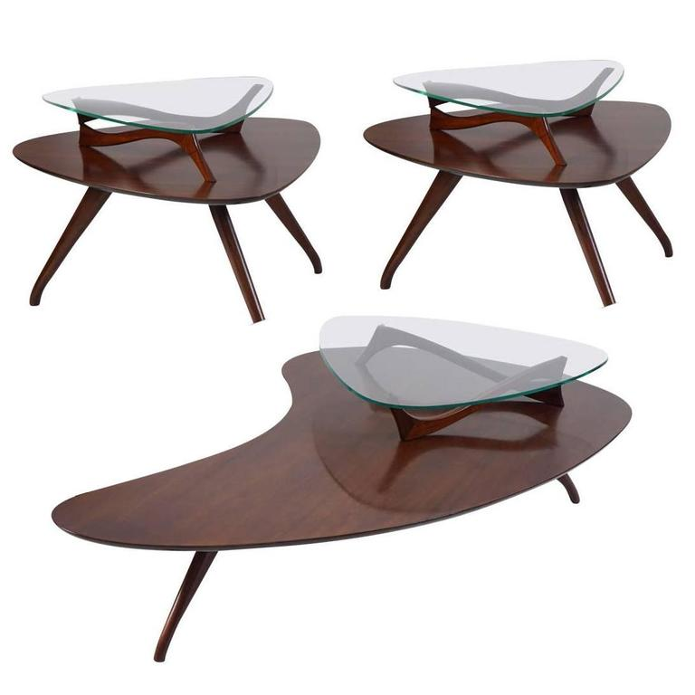 Mid-Century Modern Living Room Three Table Set in the Style of Kagan