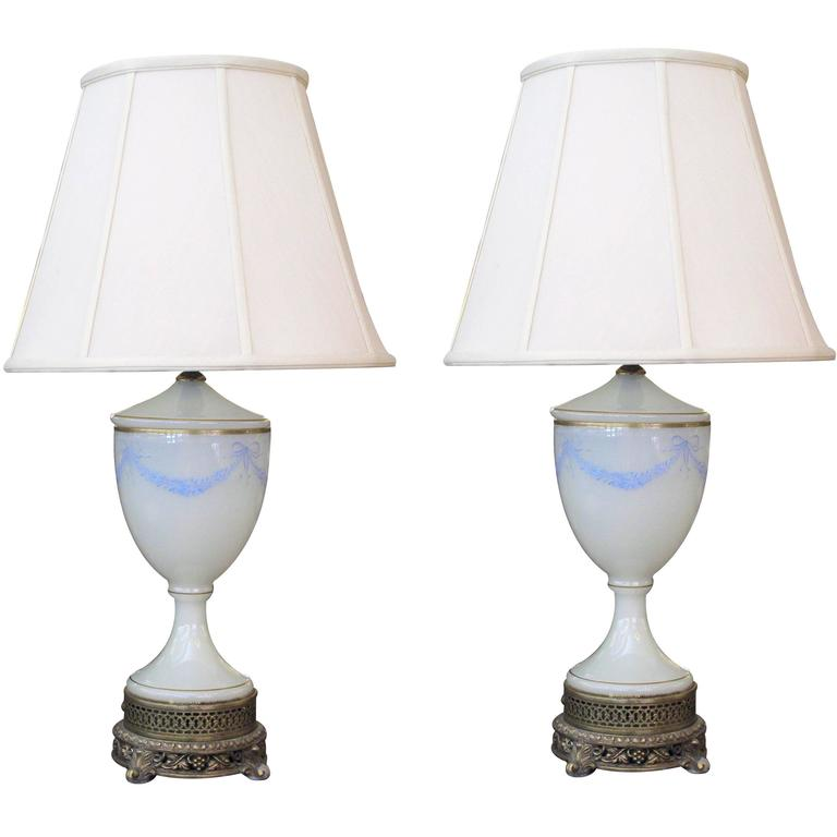 Pair of French White Opaline Urn-Form Lamps with Hand-Painted Garland