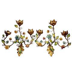 Pair of Floral Gilt Metal Sconces