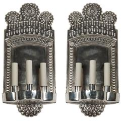 Silver Repousee Sconces