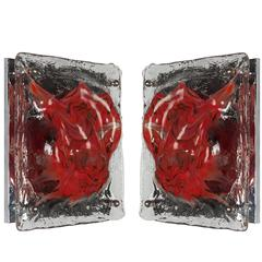 Hand-formed Art Glass Sconces by Italian Glassmaker La Murrina