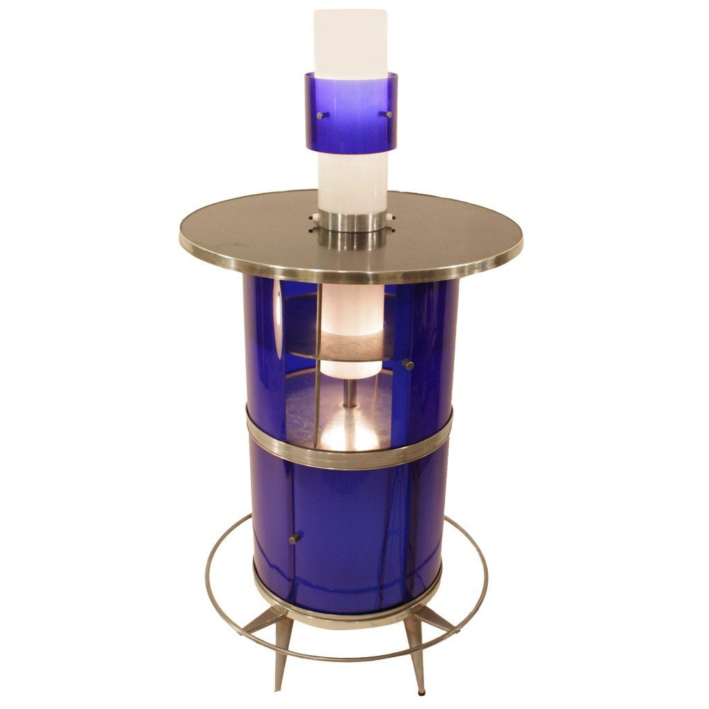 Spanish 1960s Space Age Blue and White Plexiglass Cocktails Bar with Table Lamp