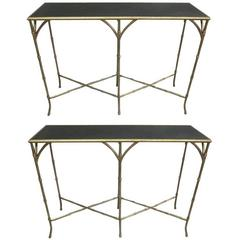 Two French Mid-Century Modern Gilt Iron Faux Bamboo Consoles, Style of Baguès