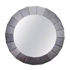 Brushed Silver Metallic Modernistic Round Mirror