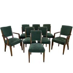 Set of Eight Dining Chairs, French, 1930s