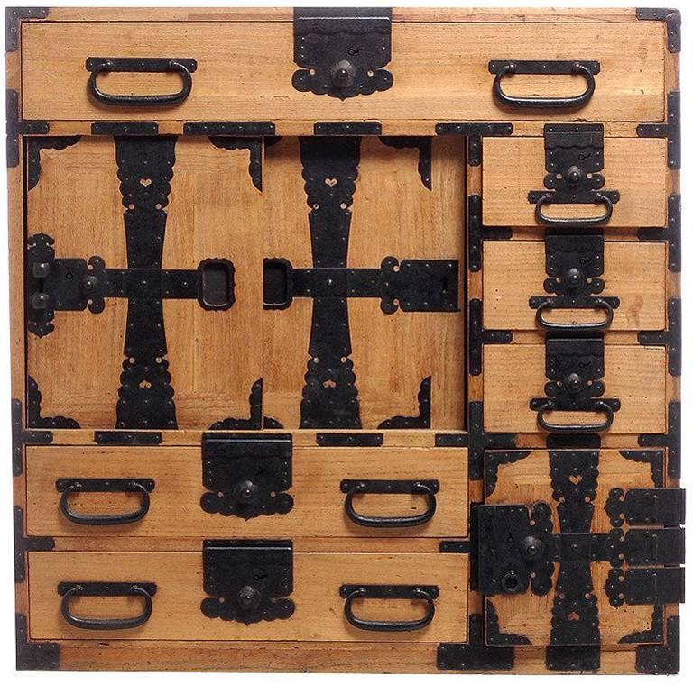 Antique Kiri Wood Meiji Japanese Merchants Chest with Iron Accents, 19th Century