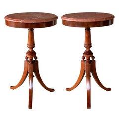 Pair of Danish Neoclassical Style Walnut Circular Tripod Side Tables