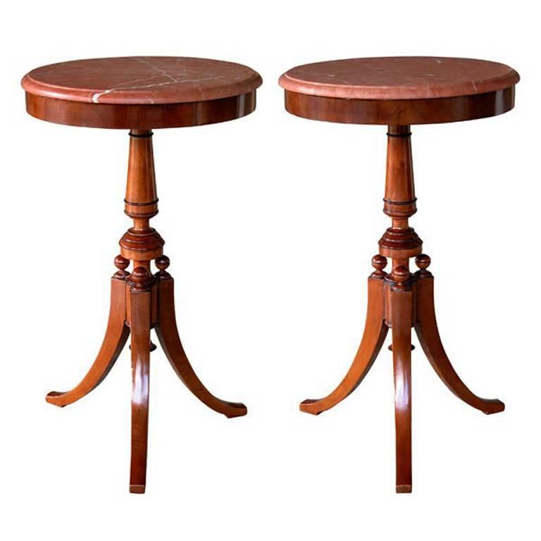 Pair of Danish Neoclassical Style Walnut Circular Tripod Side Tables