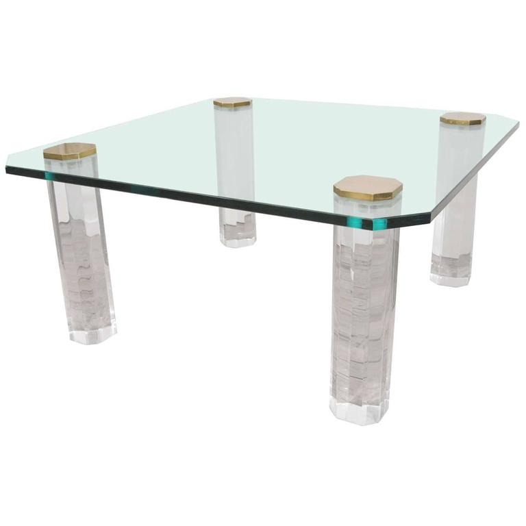 1970s Glass Top Coffee Table On Lucite Legs For Sale At