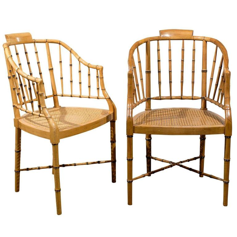 Two Vintage Faux Bamboo Tub Armchairs by Baker Furniture