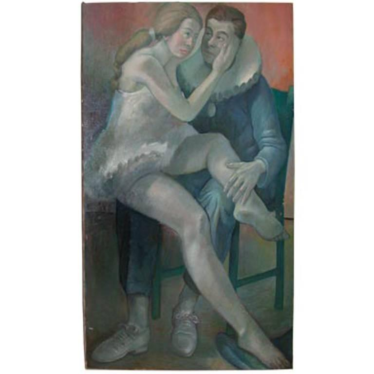 Art Deco Oil Painting, Resting Performers