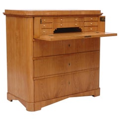 North German Biedermeier Ash Chest with Three Drawers and Fold-Down, Secretary