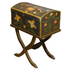 18th Century French Painted Marriage Box on Stand from Normandy