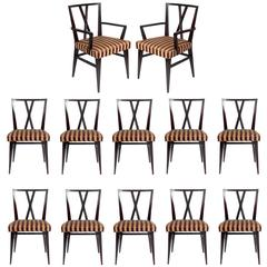 Set of Twelve Dining Chairs by Tommi Parzinger