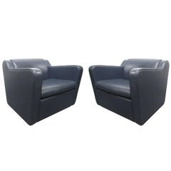 Pair of Leather 'Speed' Lounge Chairs in the Manner of Paul Frankl