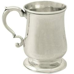 Antique George III Newcastle Sterling Silver Half Pint or Christening Mug
