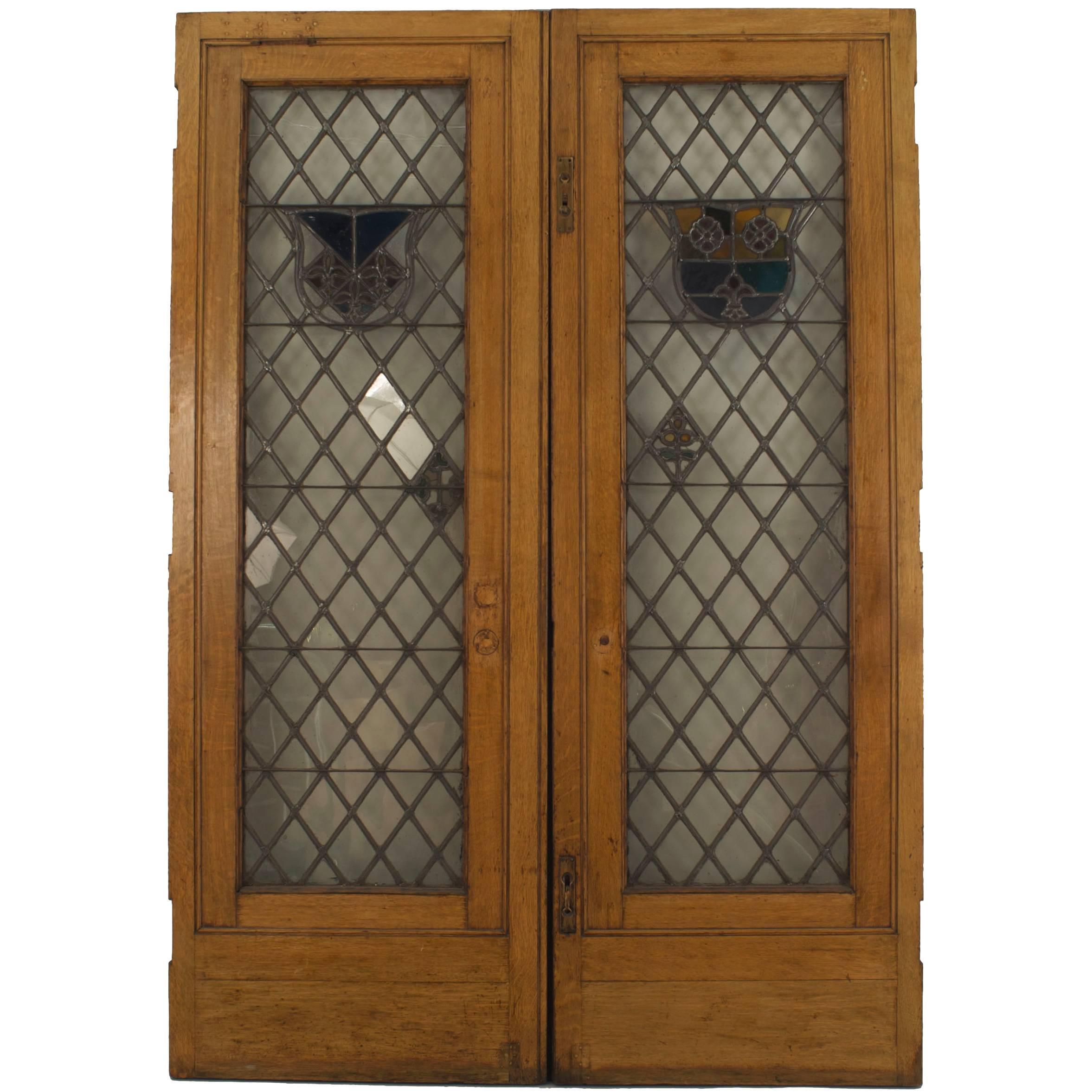 Large Pair of 19th c. American Leaded Glass Golden Oak Doors
