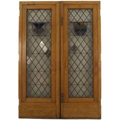 Large Pair of 19th c. American Leaded Glass Golden Oak Doors