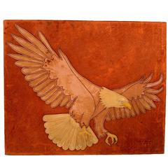 Marc O Johnson Eagle in Leather Art Work