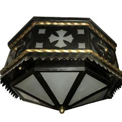 Wrought Iron Flush Mounted Light Fixture