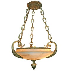 Neoclassic Alabaster Light Fixture with Bronze Insets