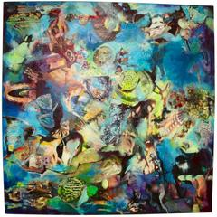 Horological Collage Painting by Ally May Miller