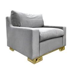 1970s Jansen Chair on Brass Scroll Feet