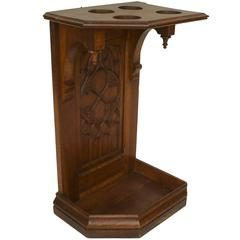 Turn of the Century English Gothic Carved Oak Umbrella Stand
